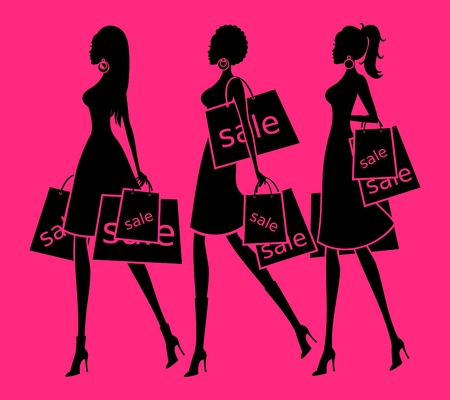 glamorous woman: Vector illustration of three young women holding shopping bags  Background and each woman are grouped and placed on separate layers