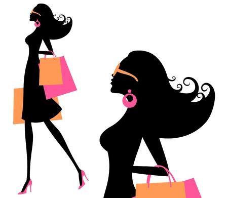 mujer: Ilustraci�n vectorial de una mujer joven de moda la celebraci�n de bolsas de la compra
