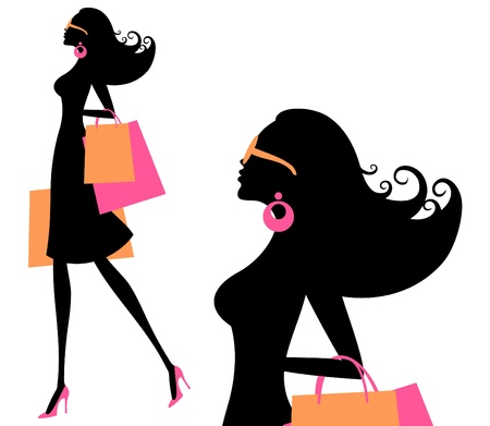 sexy woman black white silhouette: Vector illustration of a young fashionable woman holding shopping bags  Illustration