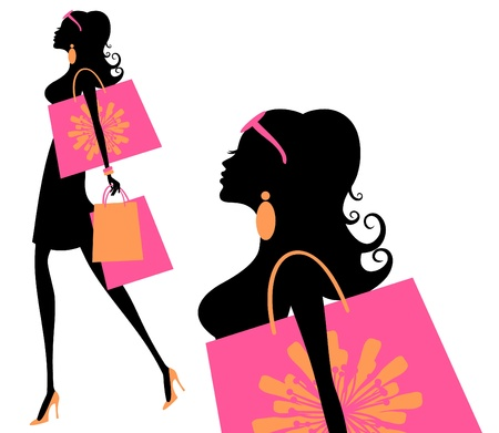 Vector illustration of a young fashionable woman holding shopping bags  Иллюстрация
