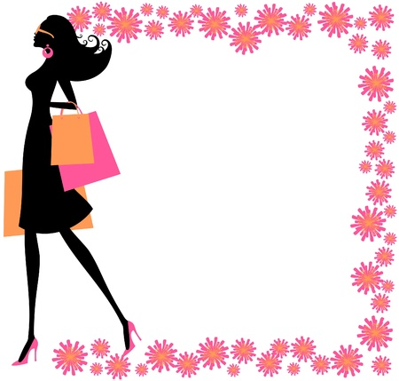 Vector illustration of a young fashionable woman holding shopping bags, surrounded by a beautiful floral frame  Vector