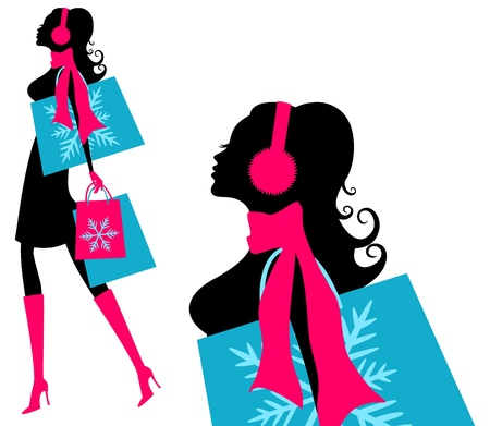 shoppers: Vector illustration of a young fashionable woman holding shopping bags  Illustration