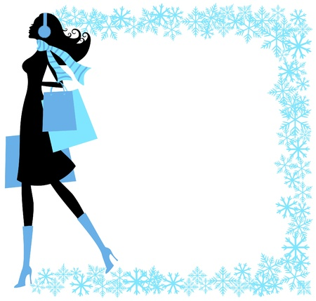 Vector illustration of a young fashionable woman holding shopping bags, surrounded by a beautiful snowflakes frame  Vector