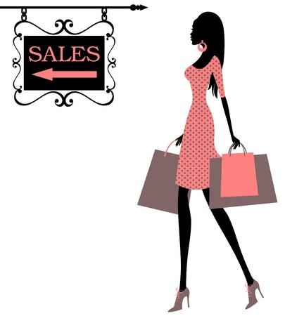 Vector illustration of a girl, holding shopping bags and looking at a Sales sign