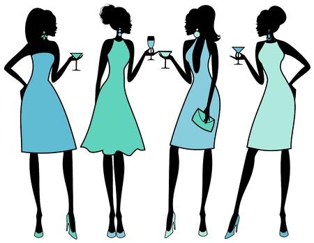 cocktaildress: Vector illustratie van vier jonge vrouwen in een chique cocktail party