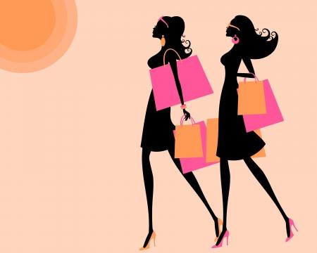뜨거운 여름에 쇼핑 두 젊은 여성의 벡터 일러스트 레이 션 배경과 소녀의 각각이 별도의 레이어에 그룹화 및 배치 말한다 일러스트