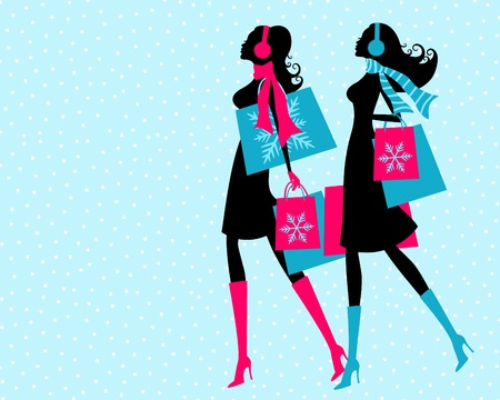 winter fashion: Vector illustration of two young women shopping on a snowy winter say  The background and each one of the girls is grouped and placed on a separate layer