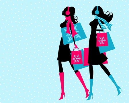 shopper: Vektor-Illustration von zwei jungen Frauen das Einkaufen auf einer verschneiten Winterlandschaft sagen Der Hintergrund und jede eines der M�dchen gruppiert ist und auf einer separaten Ebene platziert