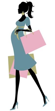 cola mujer: Ilustraci�n vectorial de una mujer embarazada de compras de moda