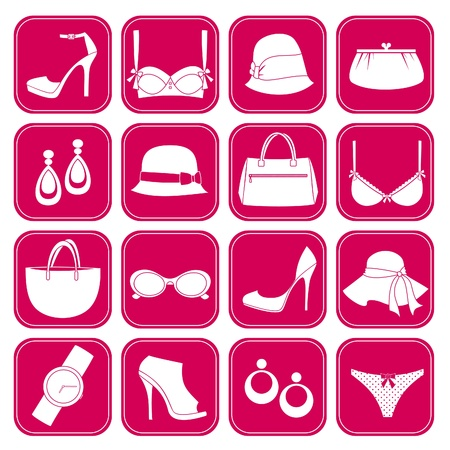 pink hat: A set of 16 elegant fashion accessories icons