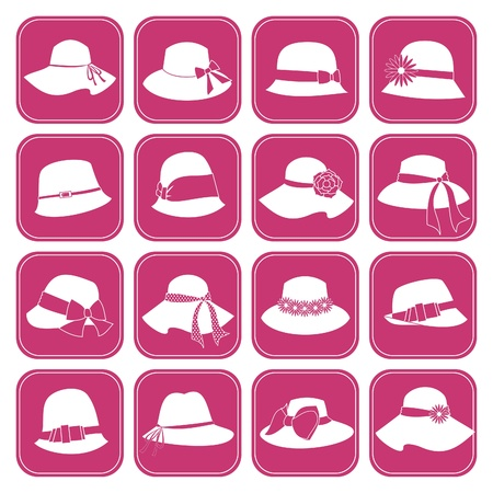 A set of 16 elegant female hats icons  Vector