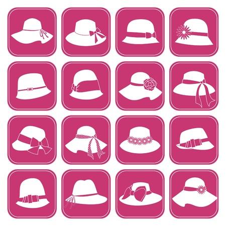 kapelusze: Zestaw z 16 eleganckich kobiet kapelusze ikon Ilustracja