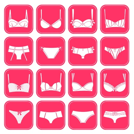 pink panties: A set of 16 elegant female underwear icons