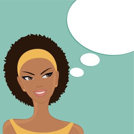 african woman face: Illustrazione vettoriale di una bella sorridente ragazza afro-americana con una bolla vuota discorso pensiero su sfondo blu di sfondo, la ragazza e le bolle sono raggruppati e collocati su livelli separati Vettoriali