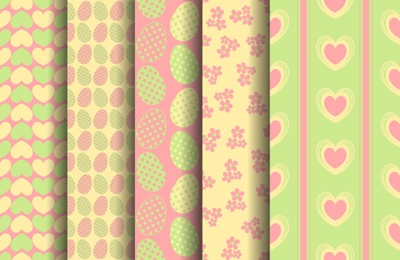 EPS 10 vector set of 5 seamless patterns  Each pattern is on a separate layer for easy editing  The drop shadows are on separate layers too, so they are easy to remove  Vector