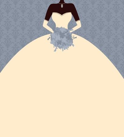 robe noire: Illustration d'une jeune mari�e �l�gante tenant une place bouquet pour votre texte Illustration