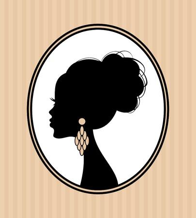 серьги: Иллюстрация красивых женских силуэта с элегантной прически