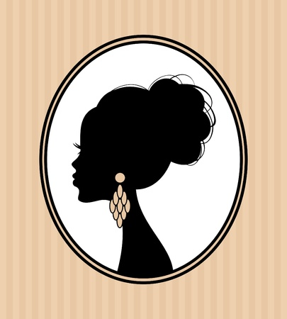 귀걸이: 우아한 헤어 스타일을 가진 아름다운 여성의 실루엣의 그림