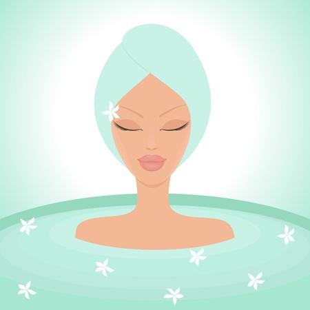 Illustration of a young beautiful woman enjoying a relaxing bath