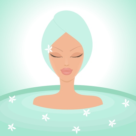 beauty center: Illustration of a young beautiful woman enjoying a relaxing bath