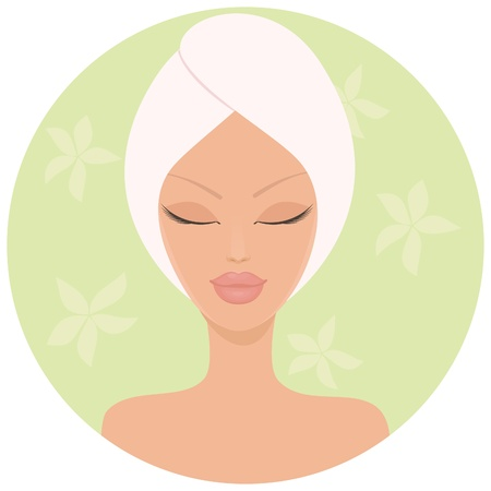 beauty salon face: Illustration of a young woman at beauty spa