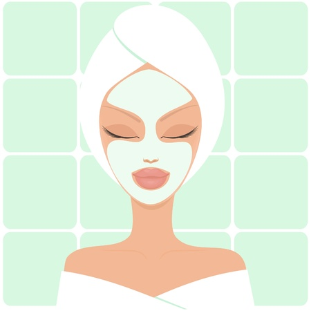 wellness center: Illustration of a young beautiful woman with facial mask