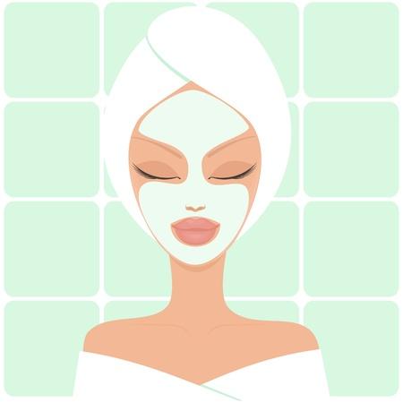 ba�o blanco: Ilustraci�n de una mujer hermosa joven con la m�scara facial
