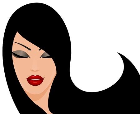 갈색 머리: 흰색에 고립 된 아름 다운 갈색 머리 여자의 그림 일러스트