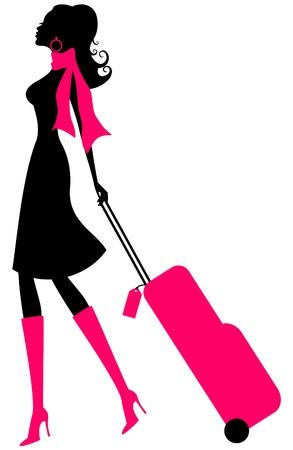 Illustratie van een jonge elegante vrouw met koffer op wit wordt geïsoleerd