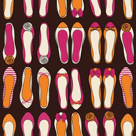 Seamless fashion pattern with colorful ballerina shoes  Vector