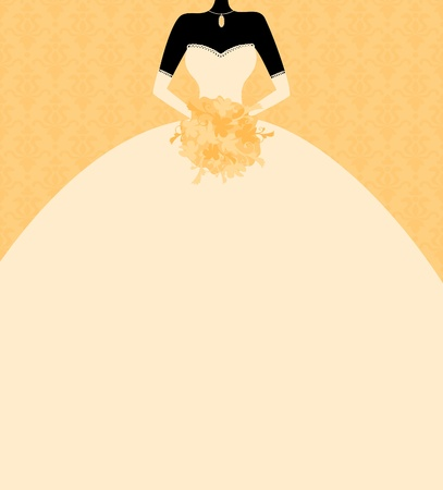 bridal shower: Illustration of a beautiful bride holding flowers with blank space for your text