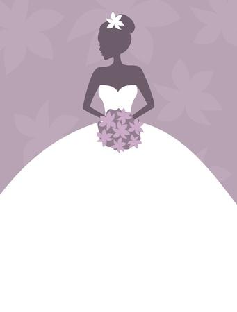 uitnodigen: Illustratie van een mooie bruid met bloemen met lege ruimte voor uw tekst