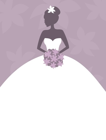 bridal bouquet: Illustration of a beautiful bride holding flowers with blank space for your text