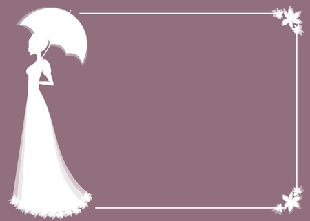 illustration of a beautiful bride holding an umbrella, perfect for bridal shower or wedding invitation