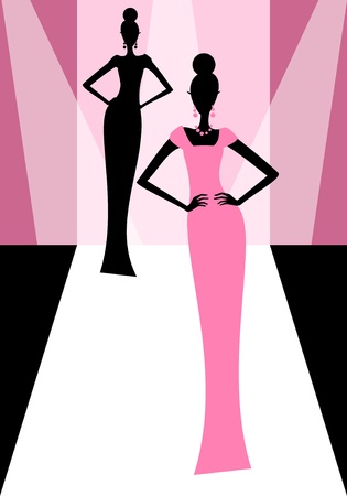 pink dress: Illustration of models on the catwalk during a fashion show  Illustration