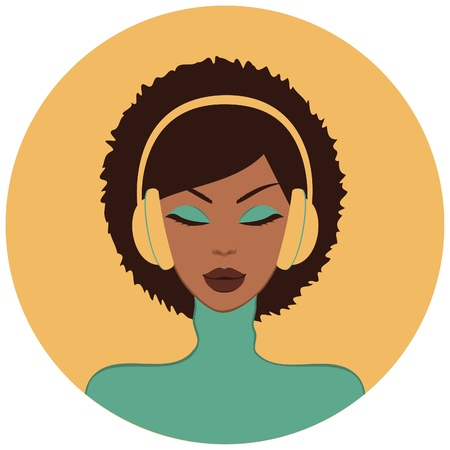 Illustration of a beautiful African-American woman listening to music  Vector