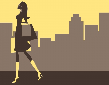 carry bag: Illustration of a young elegant woman shopping in the big city