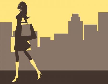 Ilustrace mladé elegantní ženy, nákupy ve velkém městě
