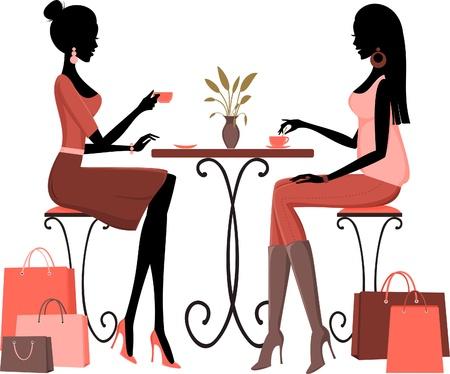 amigo: Ilustraci�n de dos mujeres j�venes que tienen caf� despu�s de un d�a de compras
