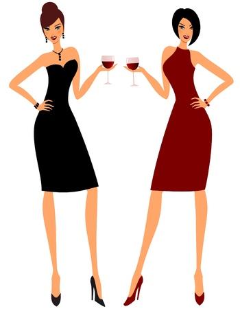 cocktaildress: Illustratie van twee jonge aantrekkelijke vrouwen die glazen rode wijn