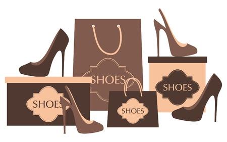 tienda zapatos: Ilustración de elegantes zapatos de tacón alto, bolsas y cajas aisladas en blanco