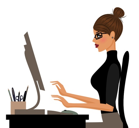 Illustration of a young woman working on computer isolated on white
