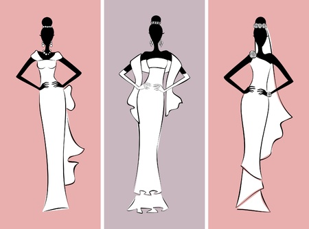 formal dress: Illustration of three fashion models wearing elegant wedding dresses.
