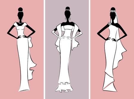 catwalk model: Illustrazione di tre modelle che indossano abiti da sposa eleganti.
