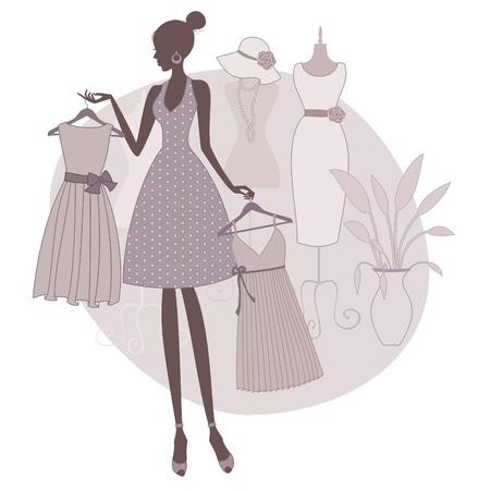 шик: Иллюстрация девочка покупками в бутик, пытаясь выбрать между двумя платьями. Иллюстрация