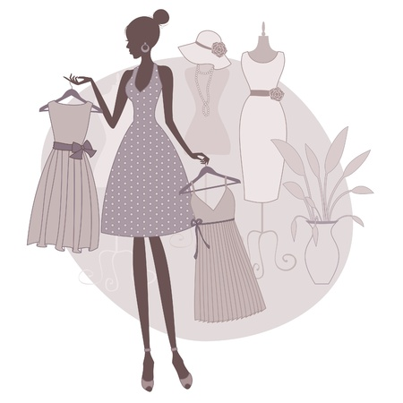 choose person: Illustration of a girl shopping at a boutique, trying to choose between two dresses.