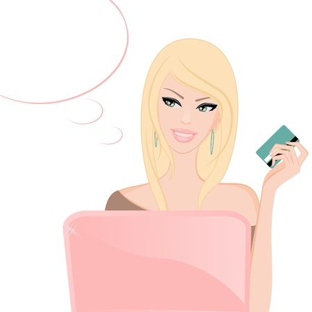 money online: Illustration of a young blond woman in front of a laptop, holding a credit credit and smiling.