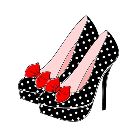 pinup: Illustration of retro style shoes with polka dots in black and white and red bow.