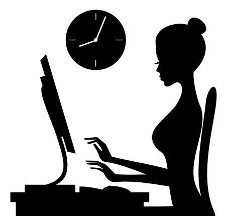 Illustration of a young woman working on computer isolated on white background.