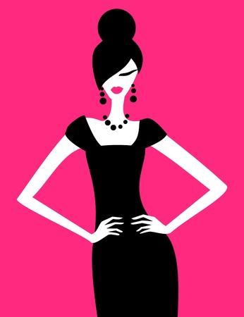 mannequin: Illustration d'un modèle de mode posant dans une élégante robe noire